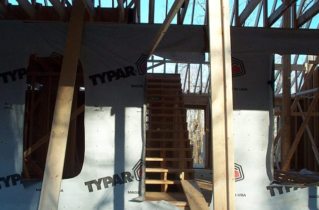 The floor went down and the stairs set in.