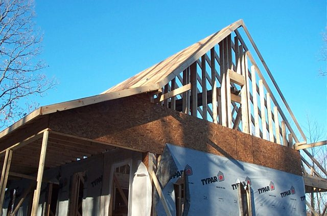 The rafters went in and the house was framed.