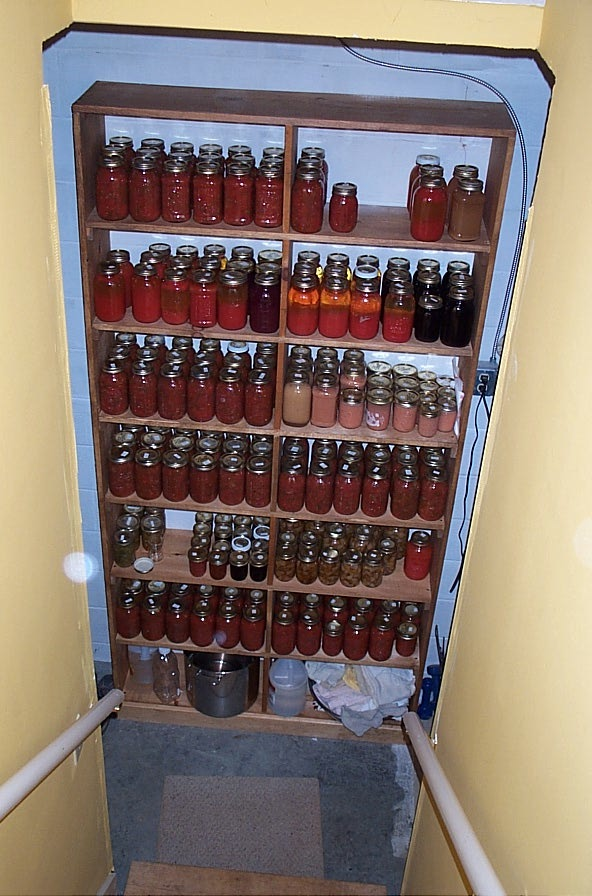 Looking down the cellar stairs you see the large set of shelves Norman made for some of my canned goods. Most of the ones we give to the family have to be stored in cases.