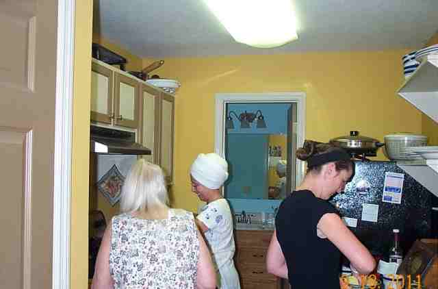 This kitchen is small but enough room for three cooks as long as they all get along. Otherwise send one down stairs to work.