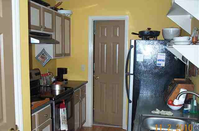 This is a galley kitchen, the working kitchen is down stairs.