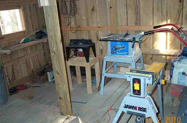 Normans power tools are housed in the barn.