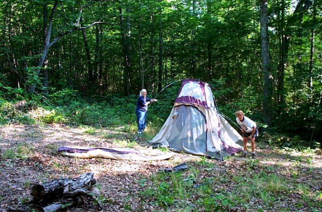 Four of us came on this first camping trip. We each found a spot and cleaned up the weeds so we could set up our tents.