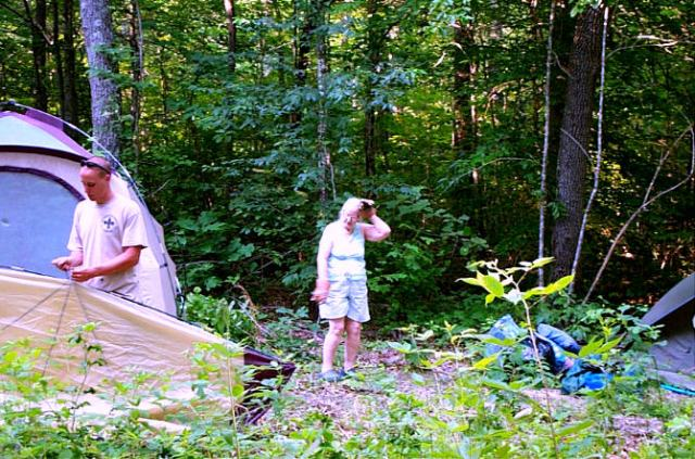 This is home? Where do I start. Clear a spot for a tent, of course.