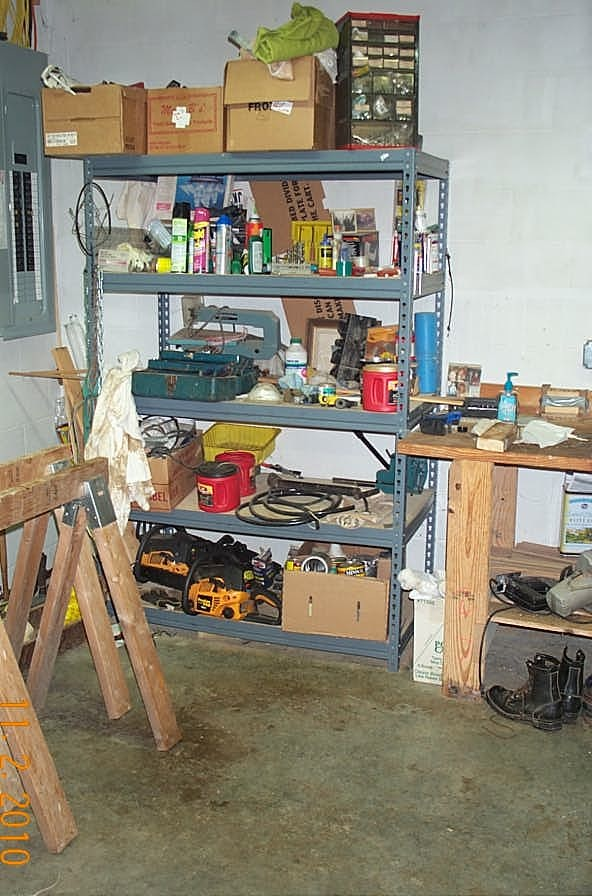 One of the set of shelves, he had the rest of the floor to make the big projects that he made for my side.