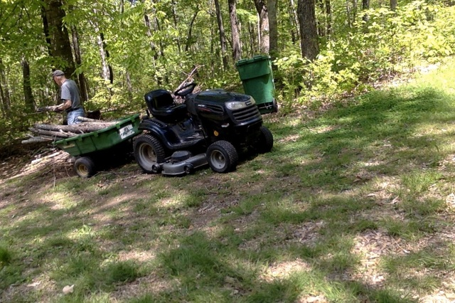 Norman moving brush and feled trees